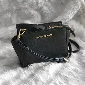 Michael Kors Black Leather Selma Mini Crossbody
